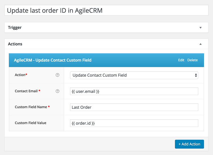 Update last order ID in AgileCRM