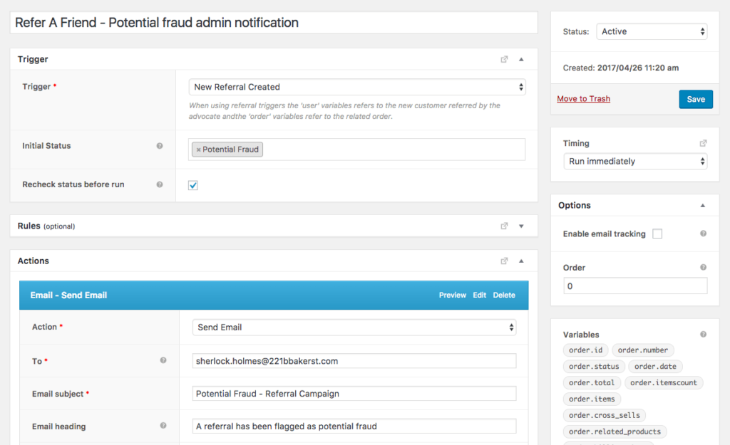 Notify admins of fraudulent referrals
