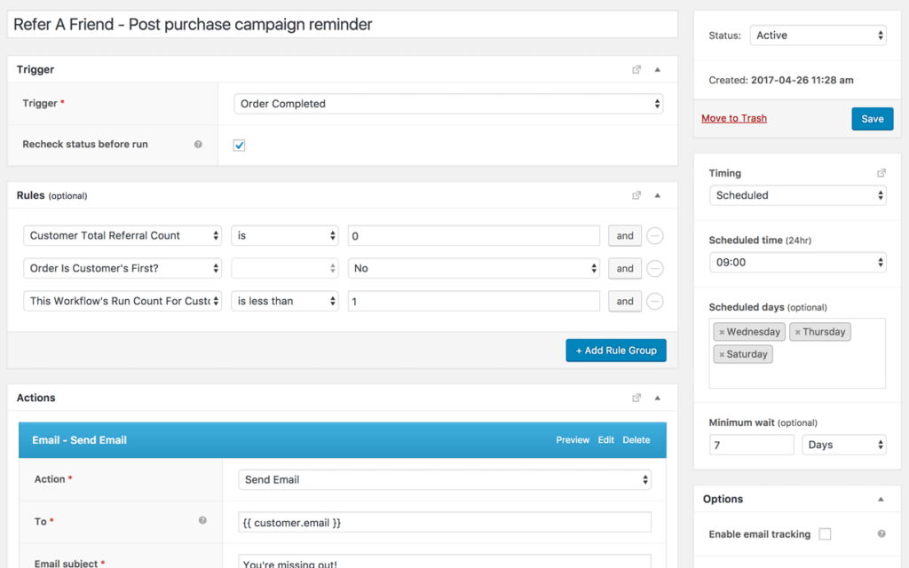Post purchase follow-up for referral campaign
