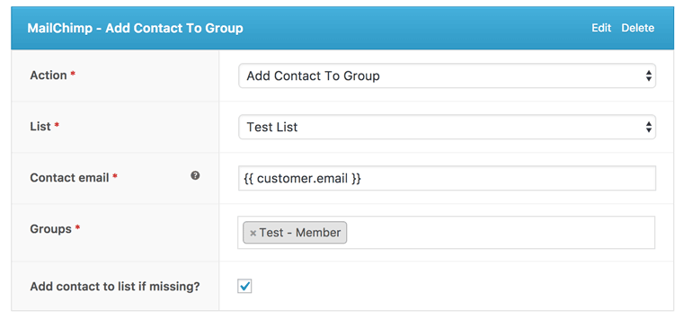 AutomateWoo add contact to MailChimp group screenshot