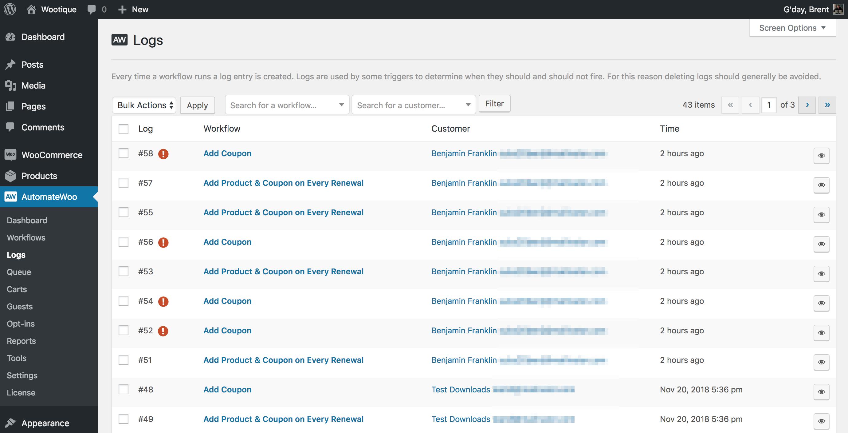 Example Workflow Logs Screenshot