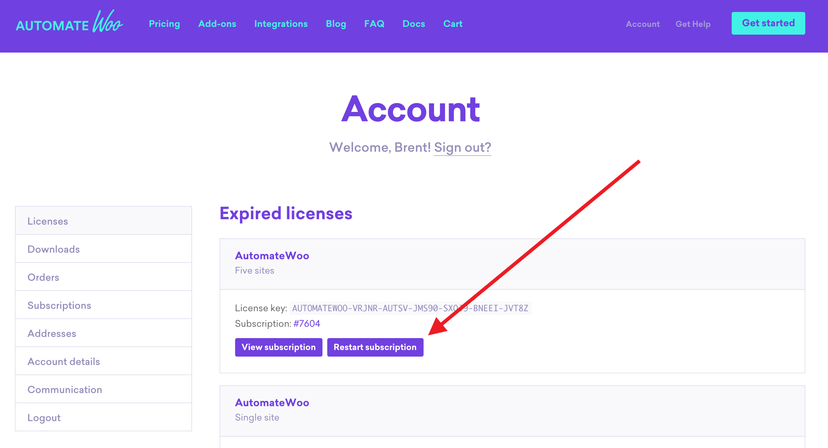 Restart subscription button on Licenses account page