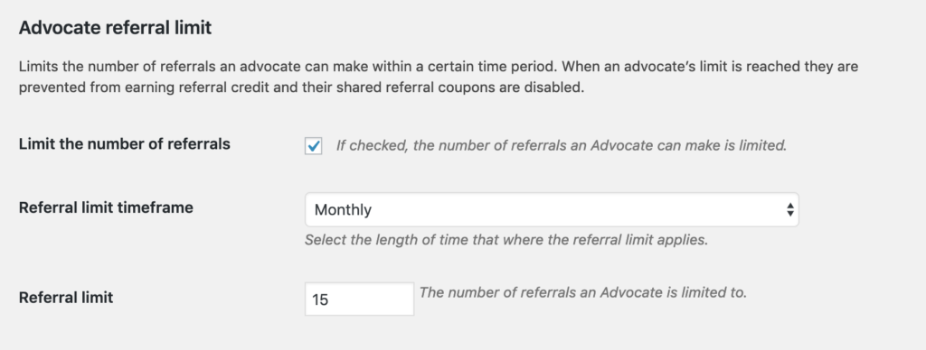 AutomateWoo advocate referral limit settings